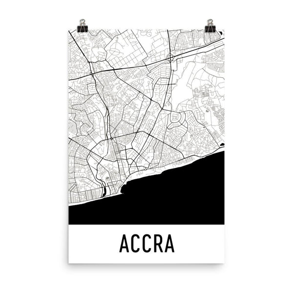 City print posters and wall art from 2999 modern map art accra ghana street map poster white gumiabroncs Images