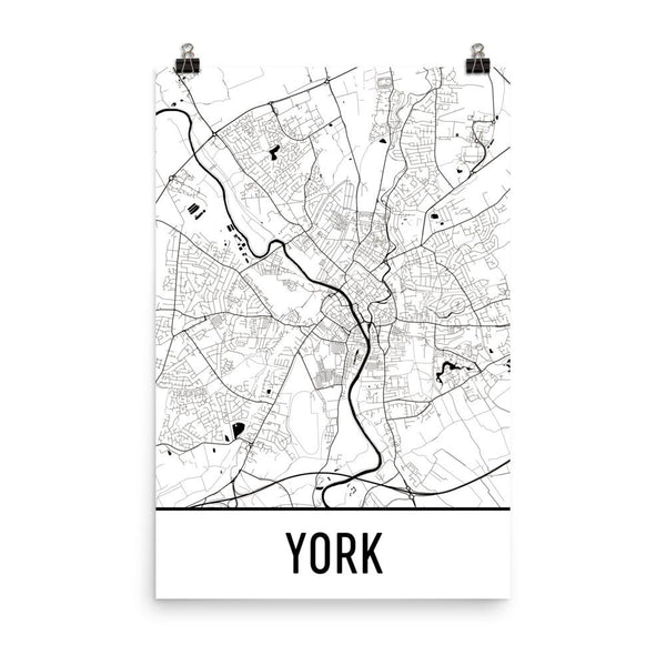 York England Street Map Poster White