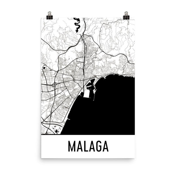 Malaga Spain Street Map Poster White