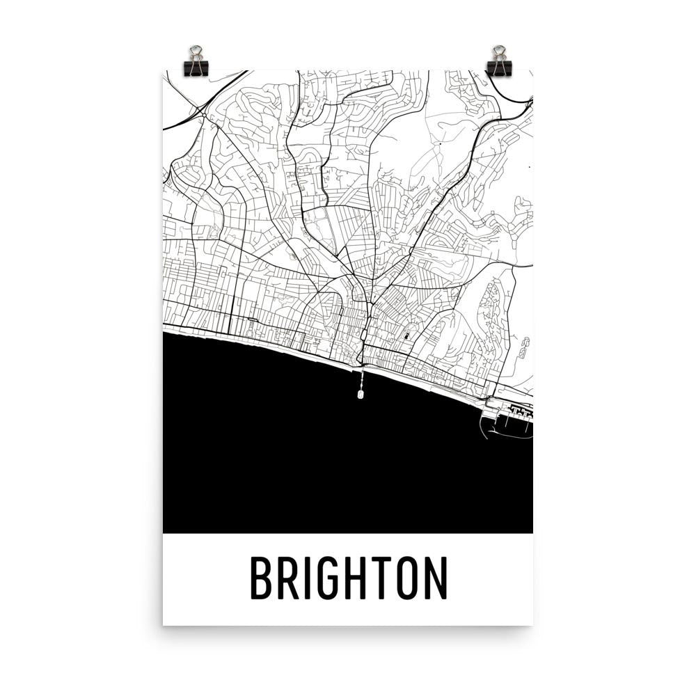 Brighton England Street Map Poster White
