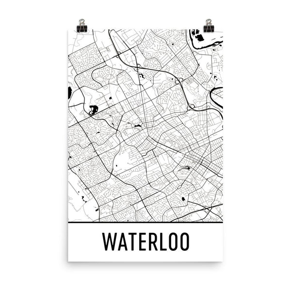 Waterloo ON Street Map Poster White