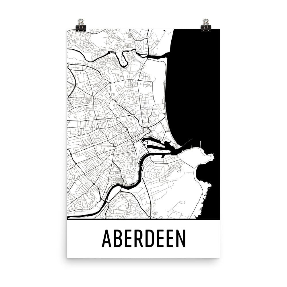 Map Of Uk Black And White.Aberdeen Uk Street Map Poster