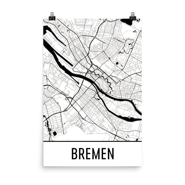 Bremen Germany Street Map Poster White