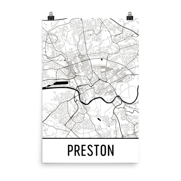 Preston England Street Map Poster White