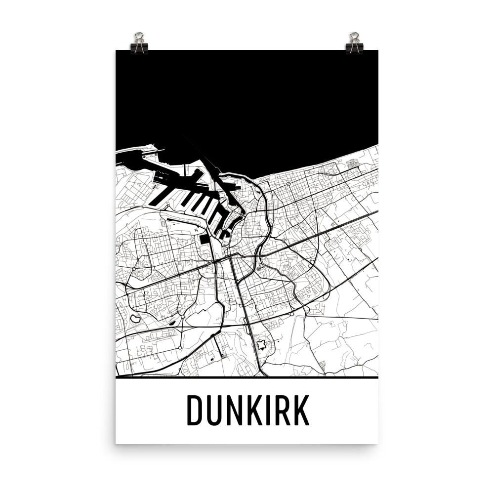 Dunkirk France Street Map Poster White