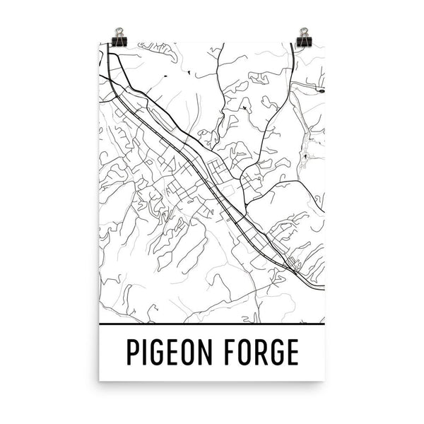 Pigeon Forge TN Street Map Poster White
