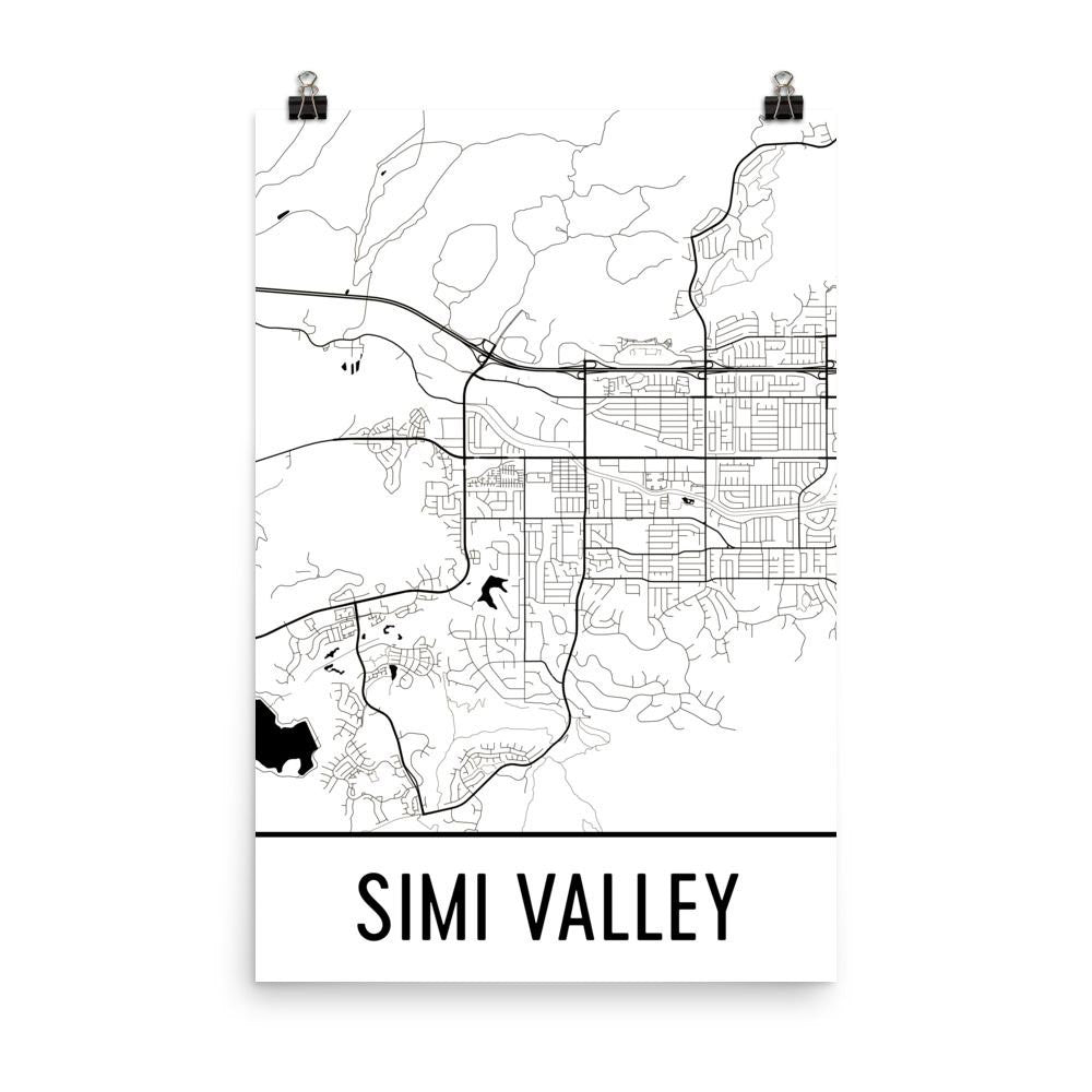 Simi Valley Ca Street Map Poster Wall Print By Modern Map Art