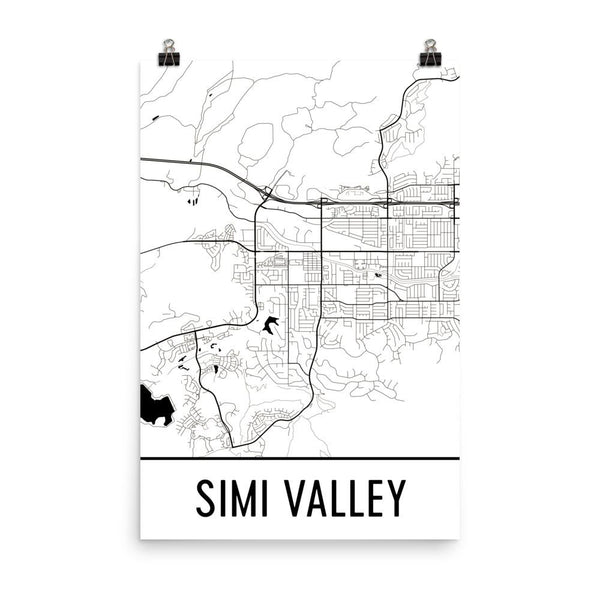 Simi Valley CA Street Map Poster White