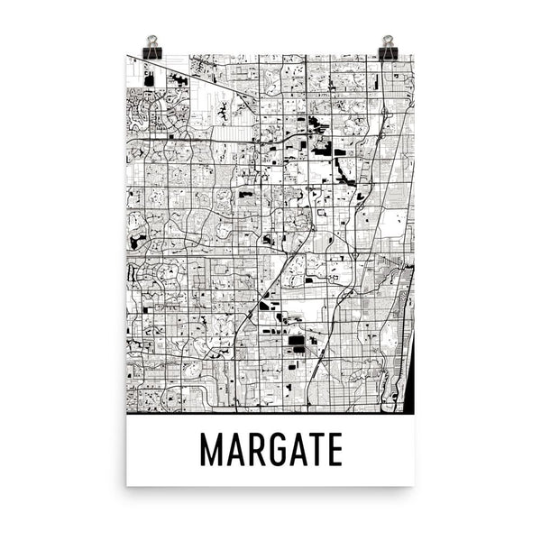 Margate Florida Street Map Poster White