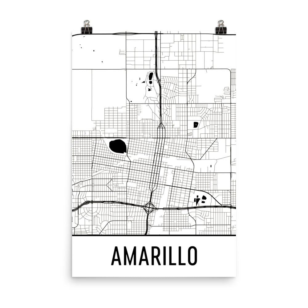 Amarillo TX Street Map Poster White