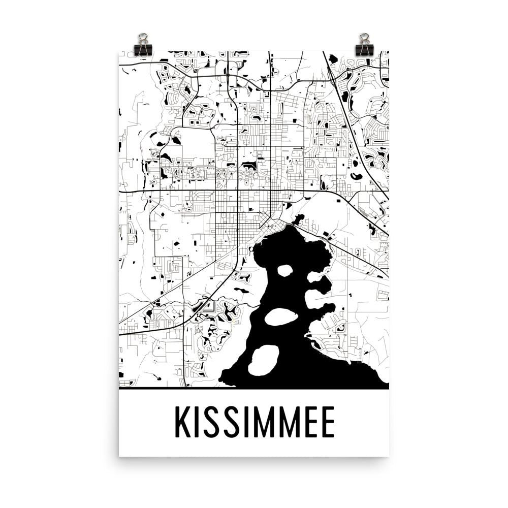 Kissimmee FL Street Map Poster White