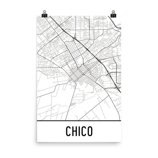 Chico CA Street Map Poster White