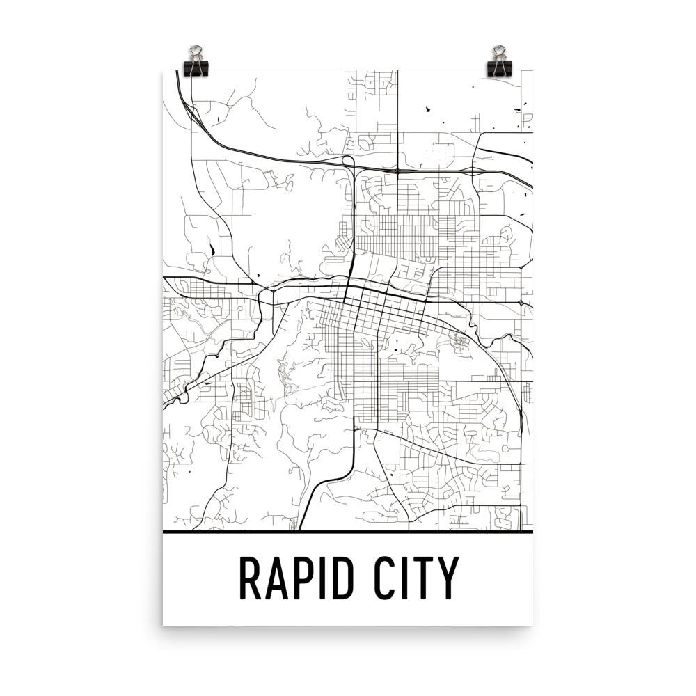 Rapid City SD Street Map Poster White