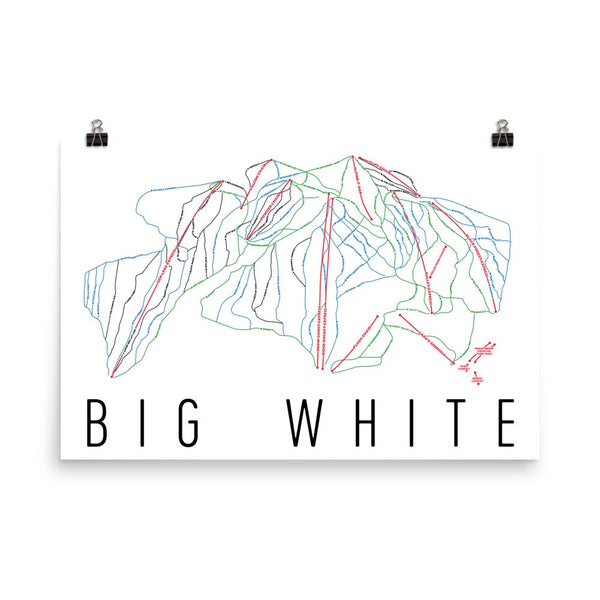 Big white ski trail map poster skier gifts by modern map art