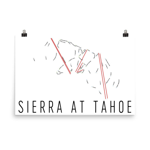 Sierra At Tahoe Ski Trail Map Poster 12x18