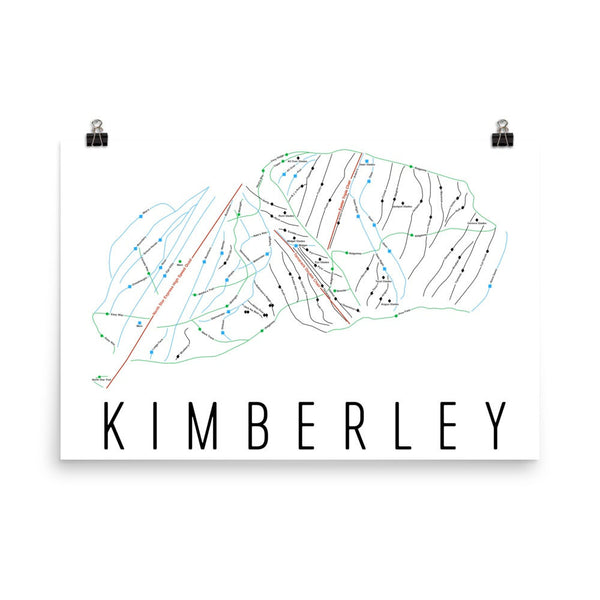 Kimberley Alpine Ski Trail Map Poster 12x18