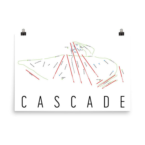 Cascade Mountain Ski Trail Map Poster 12x18