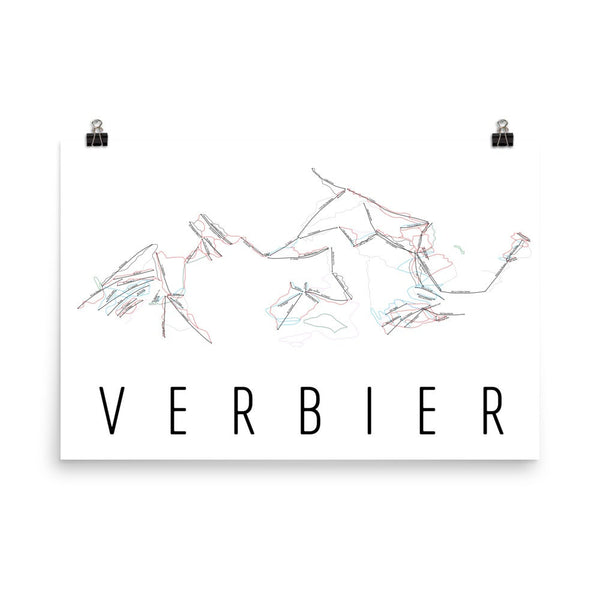 Verbier Ski Trail Map Poster 12x18