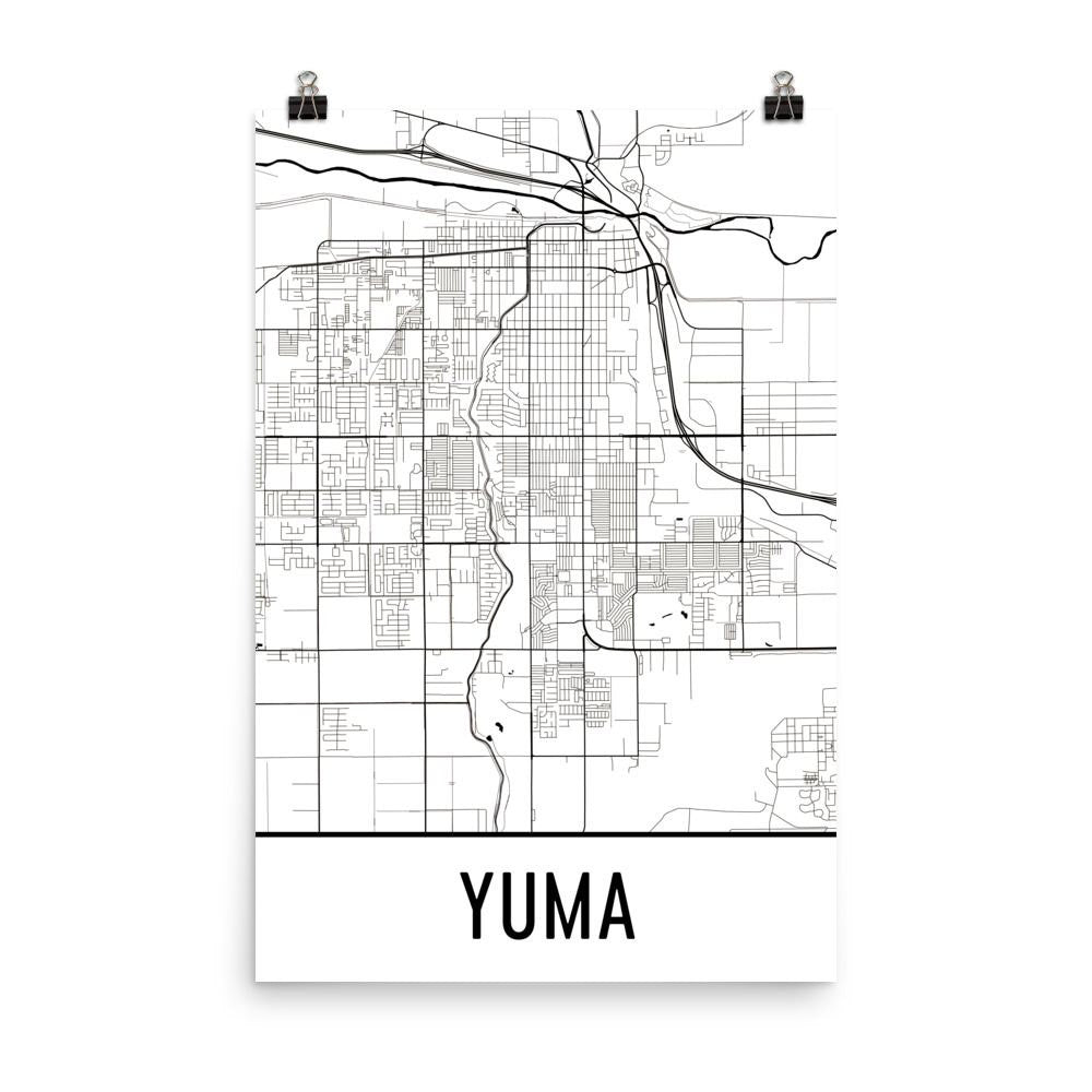 Street Map Of Yuma Arizona.Yuma Az Street Map Poster