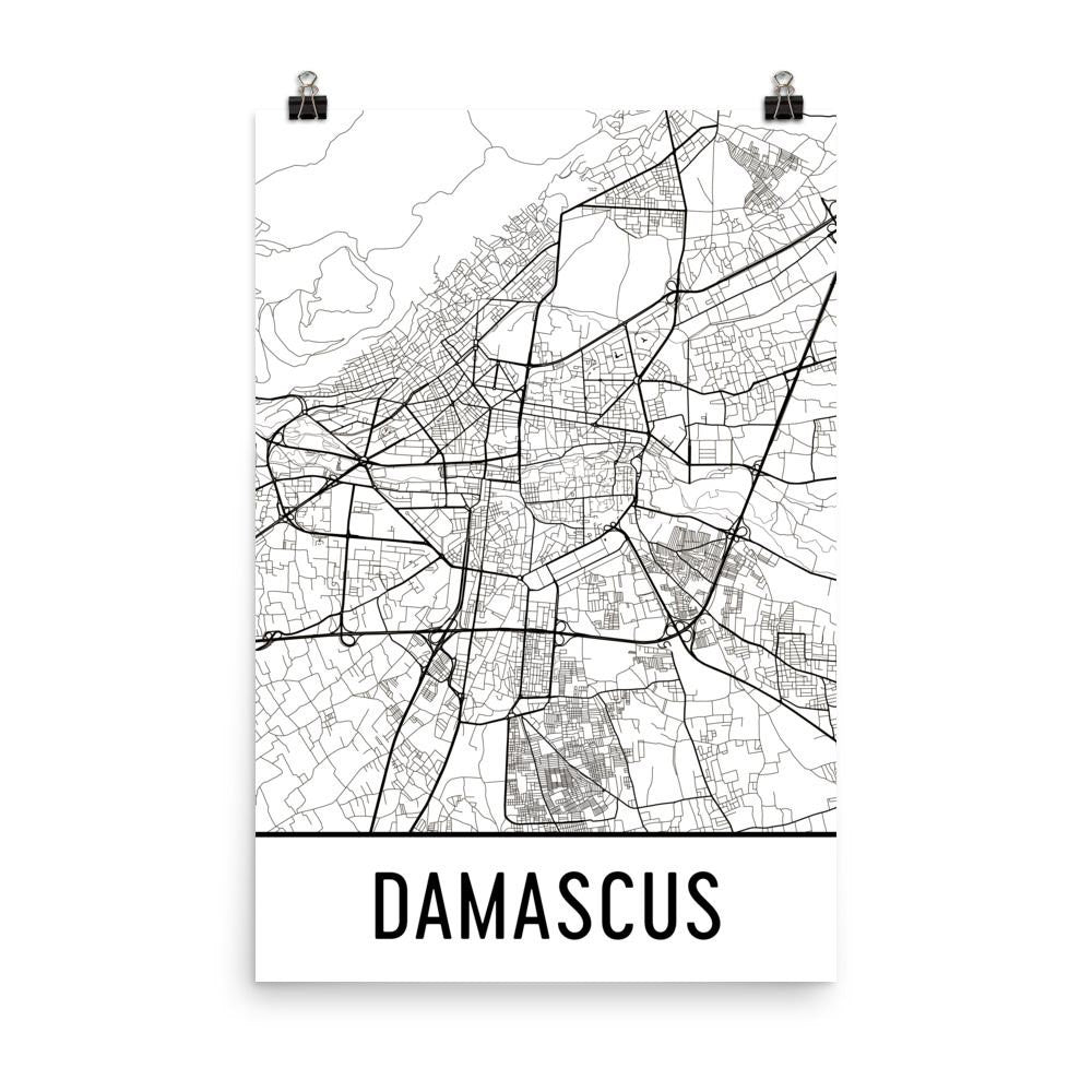 Damascus Syria Street Map Poster White