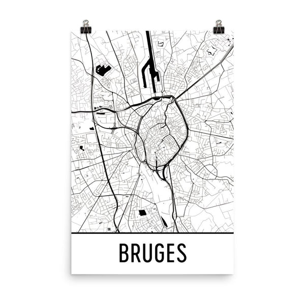 Bruges Belgium Street Map Poster White