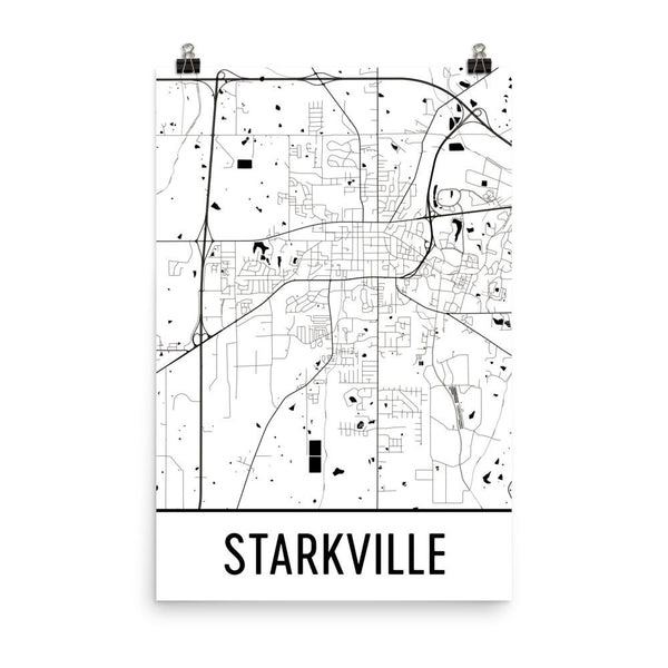 Starkville MS Street Map Poster White
