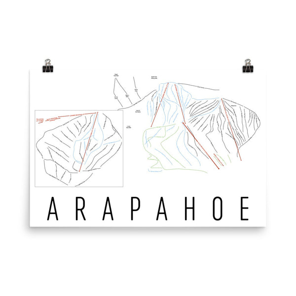 Arapahoe Ski Map Art, Trail Map, Print, Poster From $39.99 - ModernMapArt - Modern Map Art