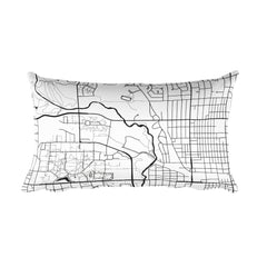 Ames black and white throw pillow with city map print 12x20