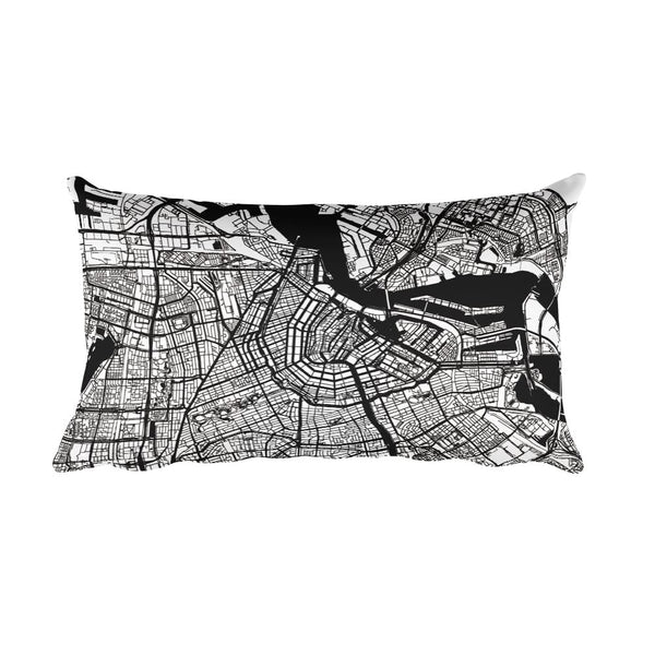 Amsterdam black and white throw pillow with city map print 12x20