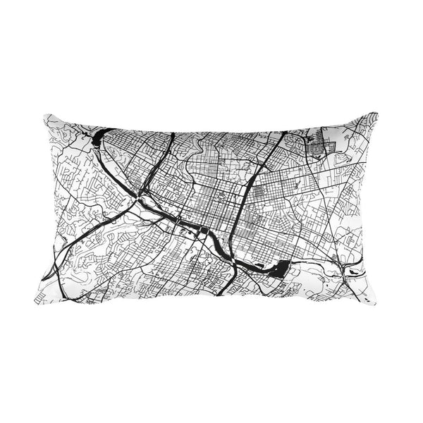 Austin black and white throw pillow with city map print 12x20