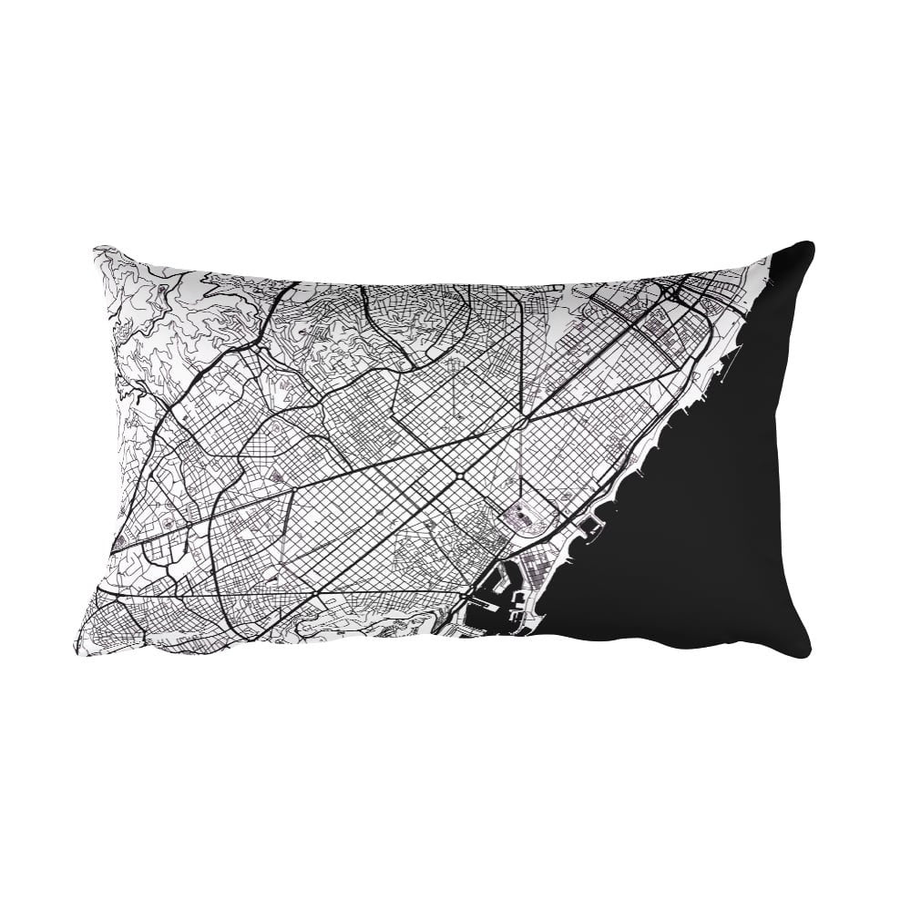 Barcelona black and white throw pillow with city map print 12x20