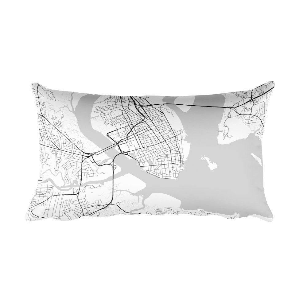 Charleston black and white throw pillow with city map print 12x20