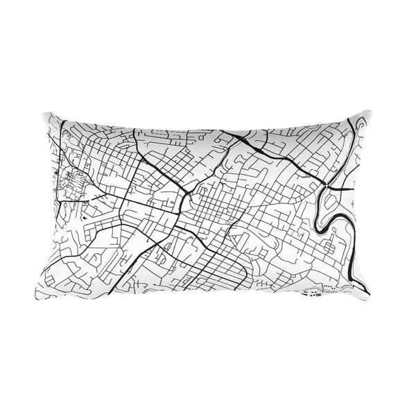 Charlottesville black and white throw pillow with city map print 12x20