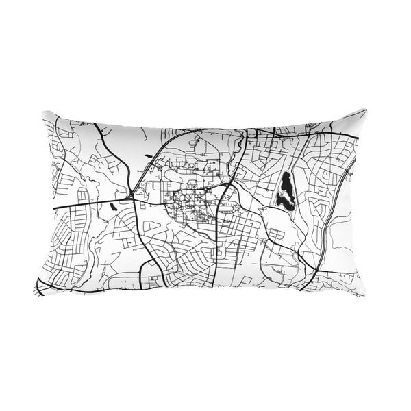 College Park black and white throw pillow with city map print 12x20