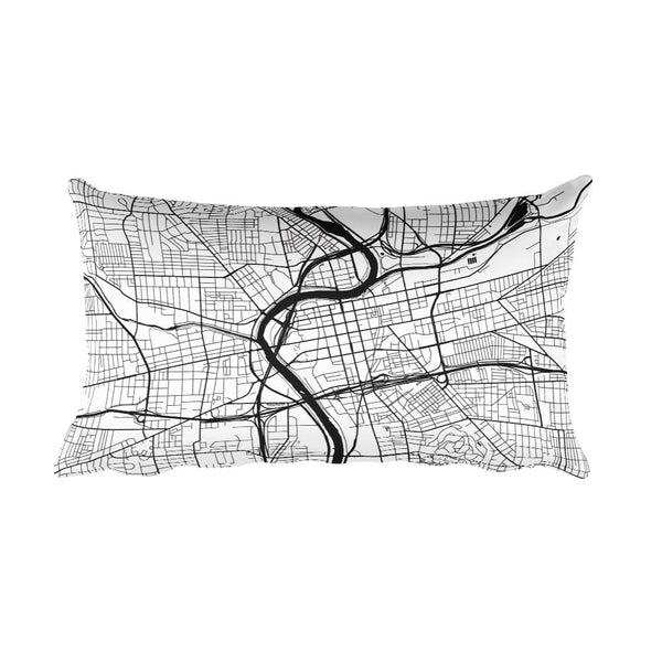 Dayton black and white throw pillow with city map print 12x20
