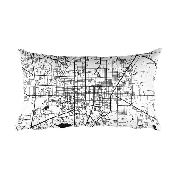 Gainesville black and white throw pillow with city map print 12x20