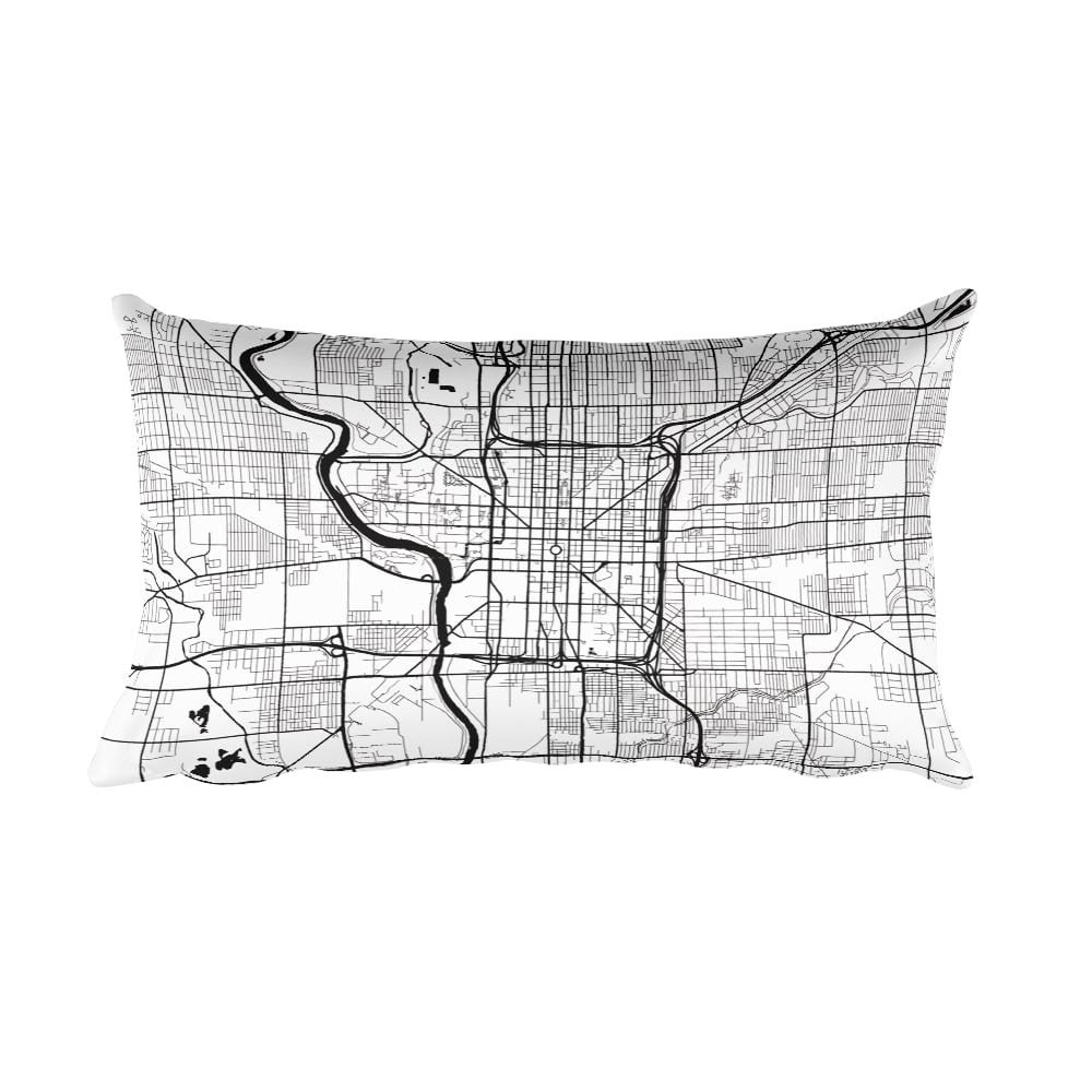 Indianapolis black and white throw pillow with city map print 12x20