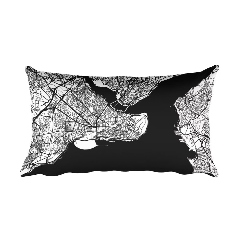 Istanbul black and white throw pillow with city map print 12x20