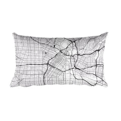 Los Angeles black and white throw pillow with city map print 12x20