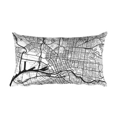 Melbourne black and white throw pillow with city map print 12x20