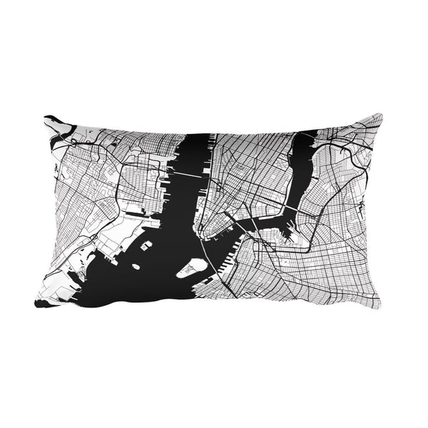 New York black and white throw pillow with city map print 12x20