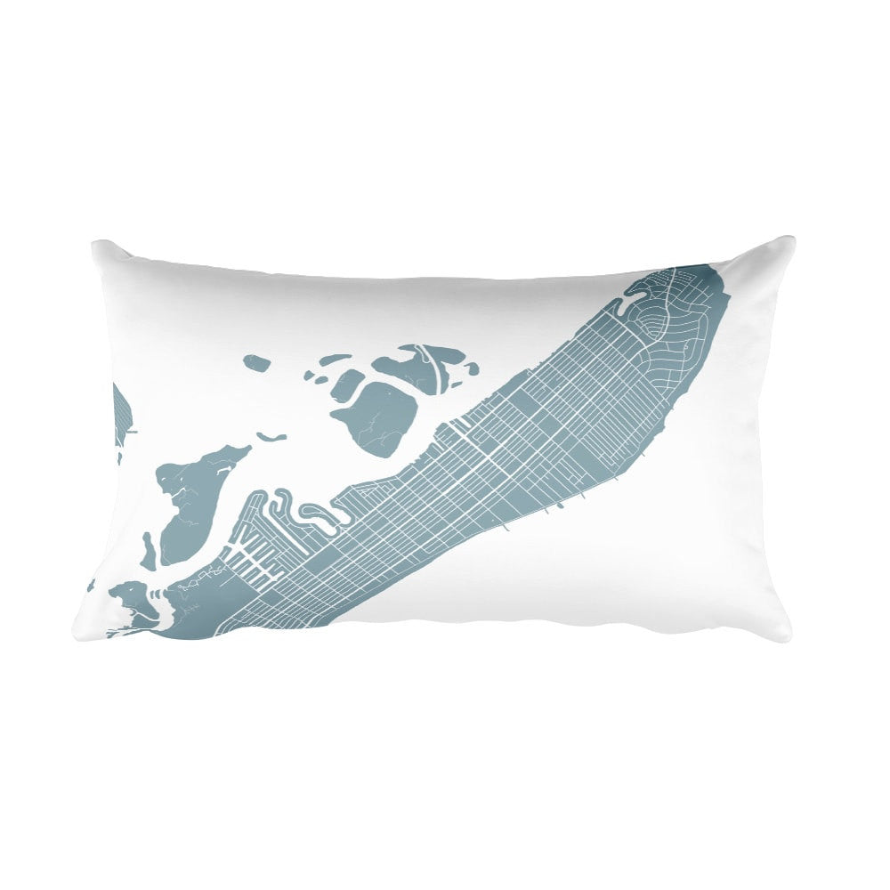 ocean city black and white throw pillow with city map print 12x20