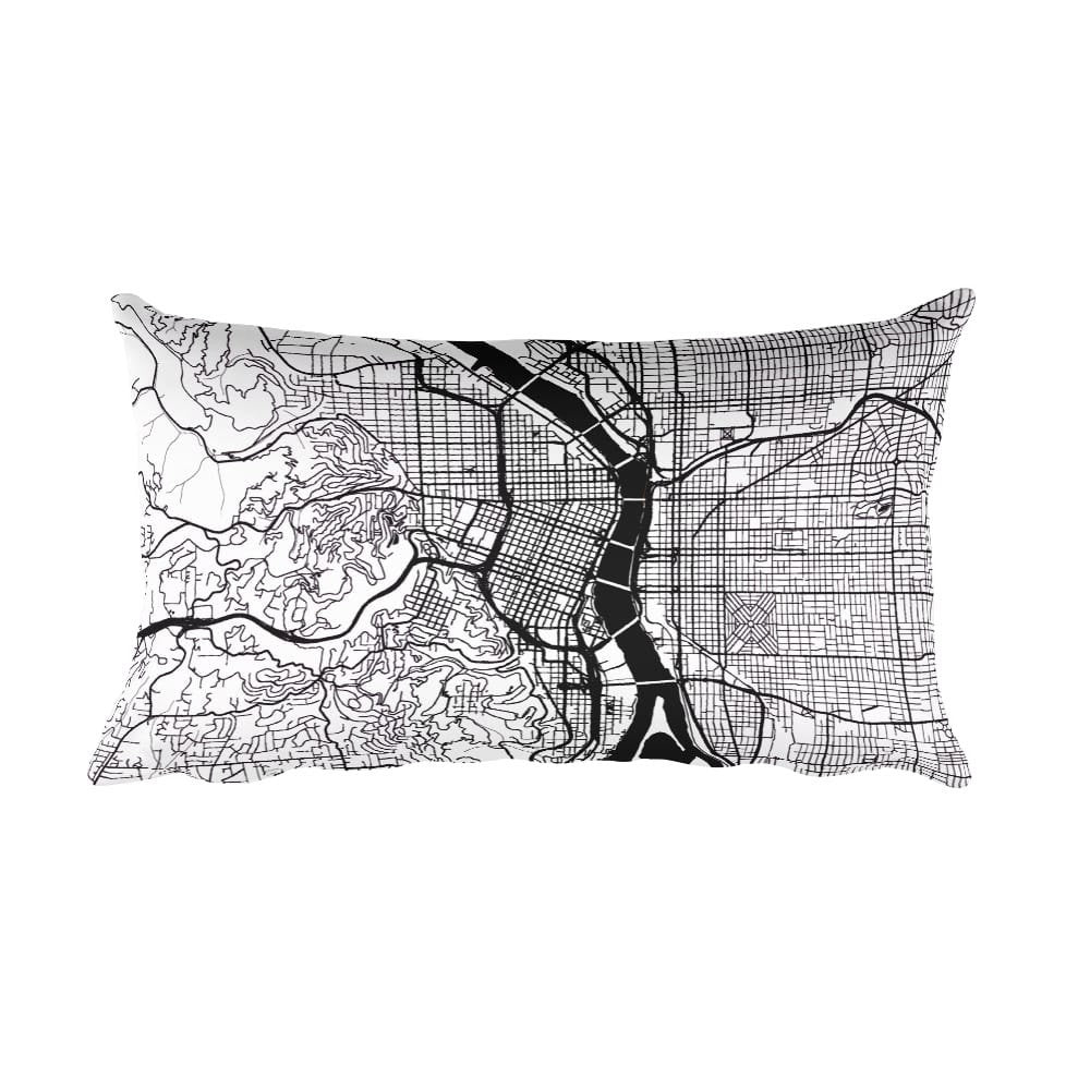Portland OR black and white throw pillow with city map print 12x20