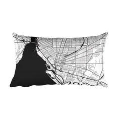 Buffalo black and white throw pillow with city map print 12x20