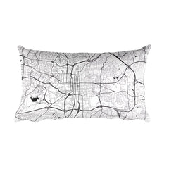 Raleigh black and white throw pillow with city map print 12x20