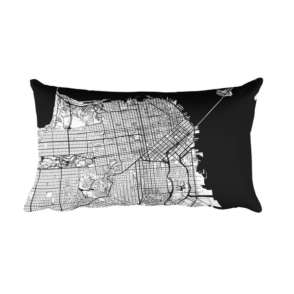 San Francisco black and white throw pillow with city map print 12x20