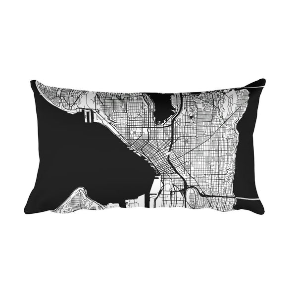 Seattle black and white throw pillow with city map print 12x20
