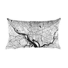 Washington DC black and white throw pillow with city map print 12x20