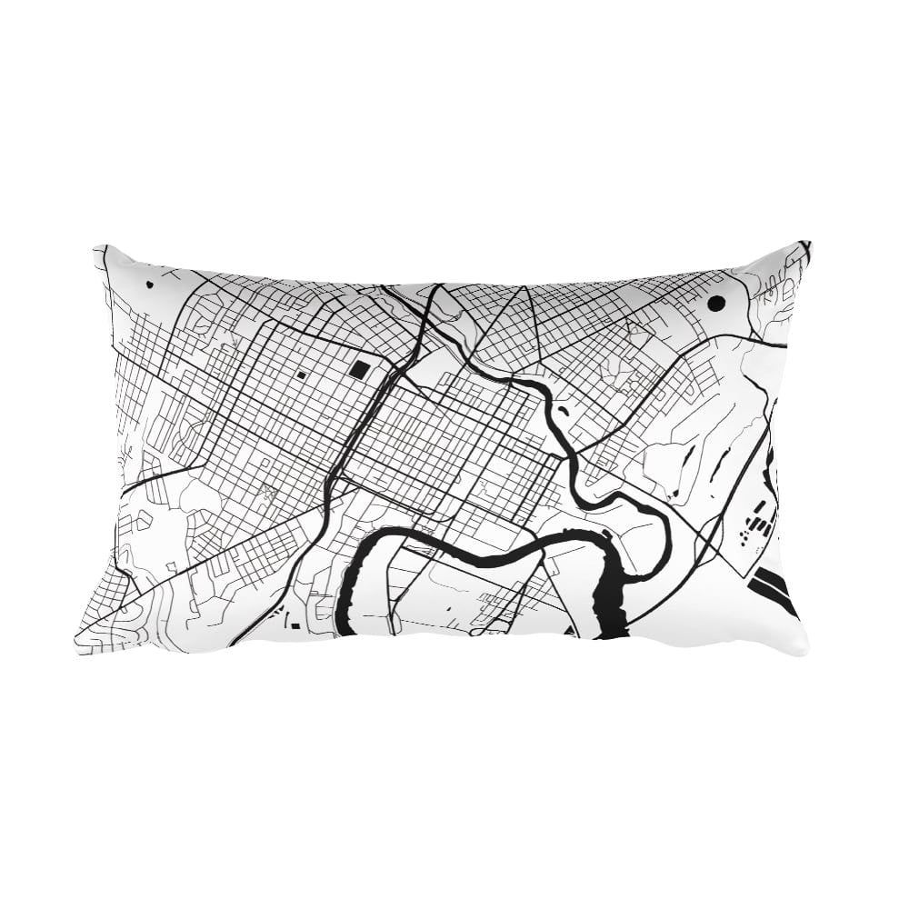 Wilmington black and white throw pillow with city map print 12x20