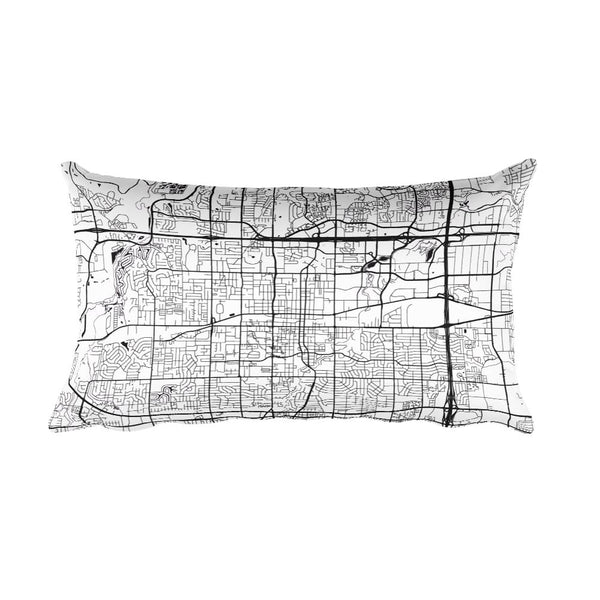 Arlington black and white throw pillow with city map print 12x20